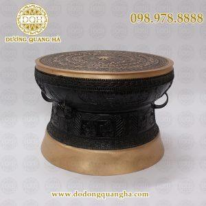 Quả trống đồng phủ si đen 40cm