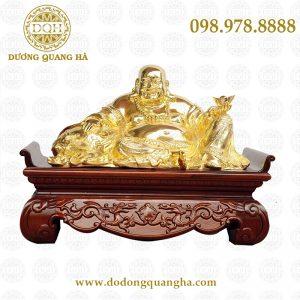 Tượng di lăc mạ vàng kèm bệ gỗ
