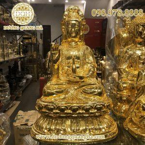 Tượng Phật bà Quan Âm ngồi mạ vàng