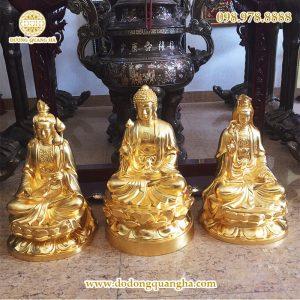 Tượng Tam thế Phật dát vàng 9999 cao 97cm
